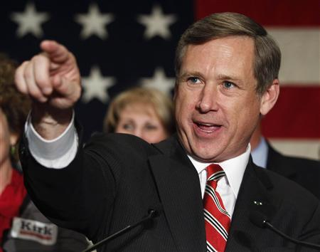 Republican U.S. Senate candidate Mark Kirk of Illinois celebrates at an election night rally in Wheeling, Illinois in this file photo taken November 2, 2010. REUTERS/Jeff Haynes/Files