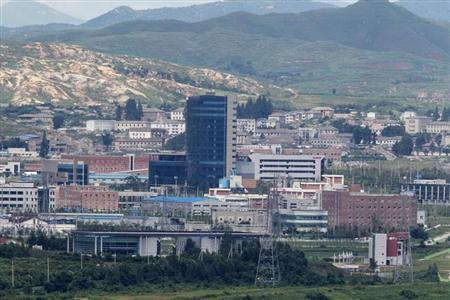 The inter-Korean industrial park in the North Korean border city of Kaesong is seen in this picture taken from the South Korean observation post near the demilitarised zone separating the two Koreas in Paju, August 11, 2010. REUTERS/Jo Yong-Hak/Files