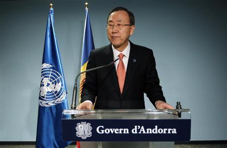 United Nations Secretary-General Ban Ki-moon speaks during a news conference in Andorra, April 2, 2013. REUTERS/Albert Gea
