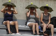 Зрители в тематических головных уборах наблюдают за матчем Открытого чемпионата Франции в Париже 25 мая 2010 года. Трое российских теннисисток преодолели барьер первого круга турнира Monterrey Open, проходящего в Мексике. REUTERS/Bogdan Cristel