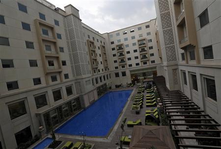 A view of the interior of the newly-constructed Lemon Tree Premier hotel, located outside the Indira Gandhi International Airport in New Delhi April 2, 2013. REUTERS/Adnan Abidi