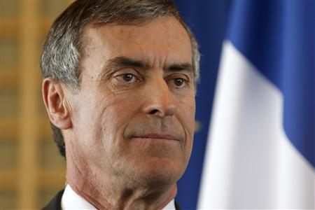 Former French Junior Minister for Budget Jerome Cahuzac reacts during a handover ceremony with his successor after his resignation at the Finance Ministry in Paris March 20, 2013. REUTERS/Charles Platiau