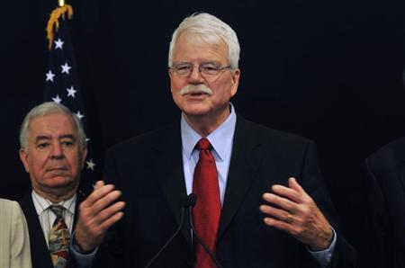 U.S. Representative George Miller speaks during a visit by him and his colleagues discussing bilateral relationships between Egypt and the U.S., in Cairo March 15, 2012. REUTERS/Esam Al-Fetori
