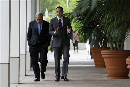 Bob Woodward (L), a former Washington Post reporter takes a tour of the Richard Nixon Presidential Library with director Timothy Naftali before his discussion about the Watergate Hotel burglary and stories, in Yorba Linda, California April 18, 2011. REUTERS/Alex Gallardo