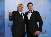 Late night talk show hosts Jay Leno (L) and Jimmy Fallon pose backstage at the 70th annual Golden Globe Awards in Beverly Hills, California, January 13, 2013. REUTERS/Lucy Nicholson