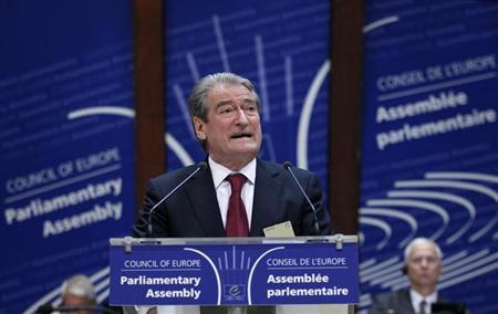 Albania's Prime Minister Sali Berisha addresses the Parliamentary Assembly of the Council of Europe in Strasbourg, June 25, 2012. REUTERS/Vincent Kessler