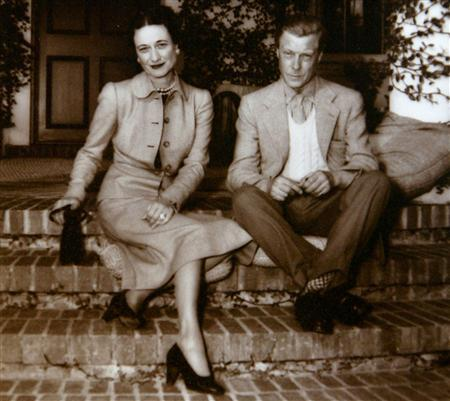 A photo of Edward VIII with Wallis Simpson is seen at Christies auction house in Rome June 16, 2004. [14 letters, in which the king tells a still-married American Wallis Simpson you will never know how much I love you, are part of a collection of] photographs, [clothing] and royal memorabilia [being sold by the couple's Italian valet. The 187 lots are estimated to fetch up up to 400,000 euros.]