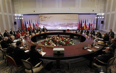 Top officials from the U.S., France, Germany, Britain, China, Russia and Iran take part in talks on Iran's nuclear programme in Almaty February 27, 2013. REUTERS/Shamil Zhumatov