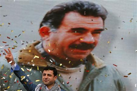 Selahattin Demirtas, co-chairman of the pro-Kurdish Peace and Democracy Party (BDP), gestures during a rally to celebrate the spring festival of Newroz in Istanbul March 17, 2013. REUTERS/Murad Sezer