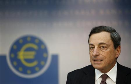 European Central Bank (ECB) President Mario Draghi speaks during the monthly ECB news conference in Frankfurt April 4, 2013. REUTERS/Lisi Niesner