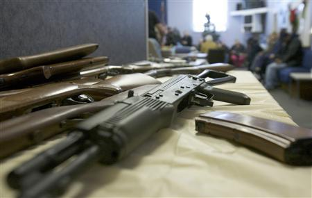 Rifles turned in are seen during a gun buyback event in Bridgeport, Connecticut, in the wake of the shootings at Sandy Hook Elementary School December 28, 2012. REUTERS/ Michelle McLoughlin