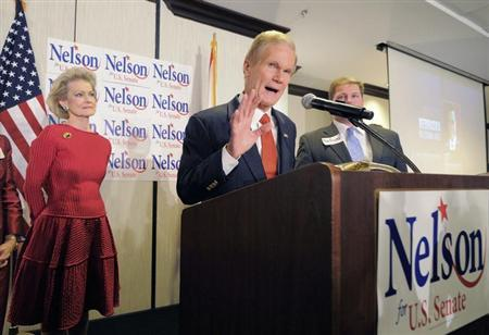 U.S. Sen. Bill Nelson West (R-FL) addresses supporters during his victory rally in Orlando, Florida, November 6, 2012. REUTERS/Scott A. Miller