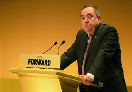 Scotland's First Minister and Scottish National Party (SNP) leader Alex Salmond addresses the SNP Spring Conference at the Eden Court Theatre in Inverness, north Scotland March 23, 2013. REUTERS/Russell Cheyne