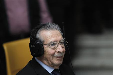 Former Guatemalan dictator Efrain Rios Montt attends the tenth day of his trial in the Supreme Court of Justice in Guatemala City April 4, 2013. REUTERS/Jorge Dan Lopez
