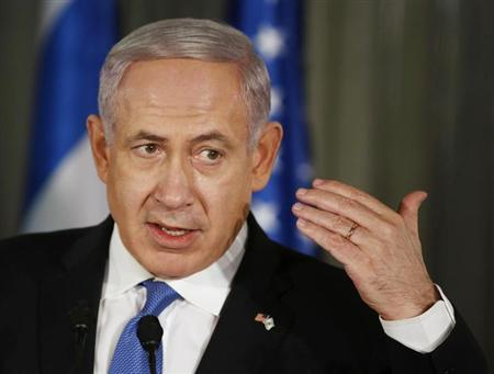 Israel's Prime Minister Benjamin Netanyahu talks at a news conference with U.S. President Barack Obama in Jerusalem, March 20, 2013. REUTERS/Larry Downing