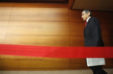 Bank of Japan Governor Haruhiko Kuroda walks into a room as he attends his first monetary policy meeting as BOJ governor in Tokyo, April 4, 2013. REUTERS/Yuya Shino