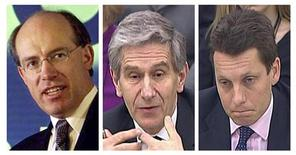 Former HBOS chief executives James Crosby and Andy Hornby (R) and chairman Dennis Stevenson (C) are seen in a combination of images in London. Bailed out British lender HBOS would have failed even without the 2008 financial crisis, a panel of lawmakers said in a report which blamed three men still in positions of influence in business and politics. Although regulators bore some of the blame, primary responsibility lay with Dennis Stevenson, chairman from the formation of HBOS in 2001 until its collapse, and former chief executives James Crosby and Andy Hornby, it said on Friday. REUTERS/UK Parliament via Reuters TV/files