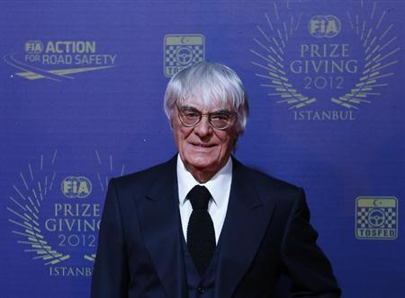 Formula One supremo Bernie Ecclestone poses as he arrives for the International Automobile Federation (FIA) Prize-Giving ceremony at Ciragan Palace in Istanbul December 7, 2012. REUTERS/Murad Sezer