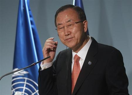 United Nations Secretary-General Ban Ki-moon gestures during a news conference in Andorra, April 2, 2013. REUTERS/Albert Gea