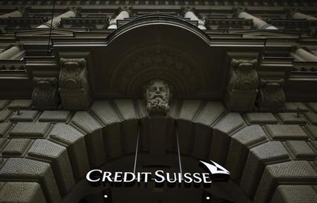 The logo of Swiss bank Credit Suisse is seen on a building at Paradeplatz square in Zurich, February 13, 2013. REUTERS/Michael Buholzer