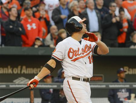 Baltimore Orioles batter Chris Davis watches the flight of the ball after stroking a grand slam in the eighth inning off of Minnesota Twins relief pitcher Tyler Robertson to give Baltimore a 9-5 lead in their MLB American League baseball game in Baltimore, Maryland April 5, 2013. REUTERS/Doug Kapustin