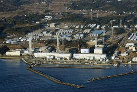 An aerial view shows Tokyo Electric Power Co.'s (TEPCO) tsunami-crippled Fukushima Daiichi nuclear power plant in Fukushima Prefecture March 11, 2013. REUTERS/Kyodo