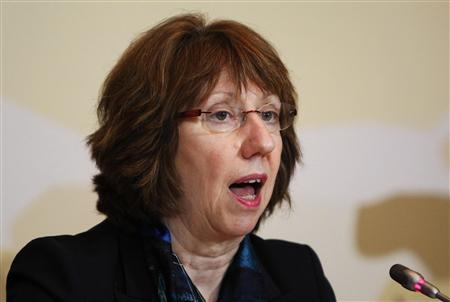 European Union Foreign Policy Chief Catherine Ashton attends a news conference after the talks on Iran's nuclear programme in Almaty, April 6, 2013. World powers and Iran remain far apart despite two days of intensive talks over Tehran's nuclear programme, Ashton said after the negotiations ended on Saturday. REUTERS/Shamil Zhumatov
