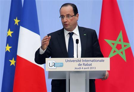 French President Francois Hollande delivers a speech at the International University of Rabat April 4, 2013. Hollande is on a two-day visit to Morocco. REUTERS/Abdeljalil Bounhar/Pool