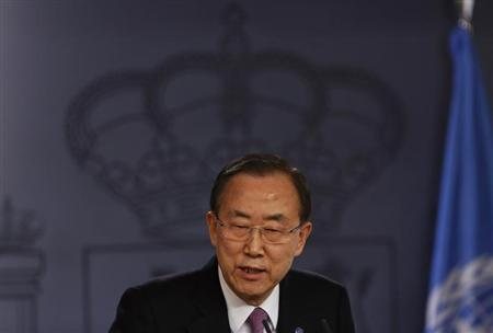 United Nations (U.N.) Secretary General Ban Ki-moon speaks during a joint news conference with Spain's Prime Minister Mariano Rajoy (not pictured) after their meeting at the Moncloa Palace in Madrid April 4, 2013. REUTERS/Sergio Perez