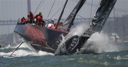 Volvo Ocean Race team Puma sails during eighth leg of Volvo Ocean Race in Lisbon June 10, 2012. The eighth leg of Volvo Ocean Race starts today from Lisbon to Lorient in France. REUTERS/Rafael Marchante