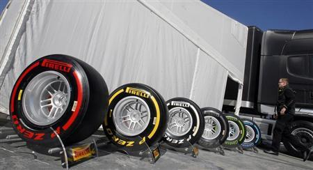 Pirelli Formula One tyres are seen in the paddock during a training session at Circuit de Catalunya racetrack, in Montmelo, near Barcelona, February 21, 2012. REUTERS/Albert Gea