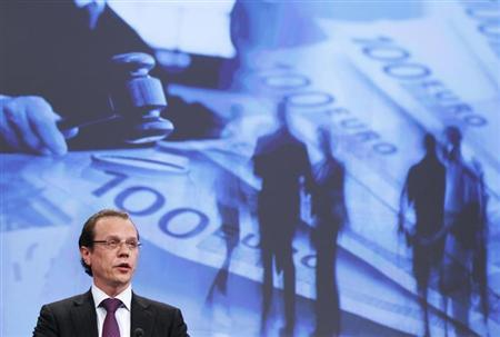 European Commissioner for Taxation and Customs Union, Audit and Anti-Fraud Algirdas Semeta addresses a news conference in Brussels after the EU's executive proposed new rules to protect the financial interests of the European Union July 11, 2012. REUTERS/Francois Lenoir