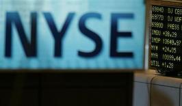 Логотип фондовой биржи в Нью-Йорке, 9 июля 2007 года. Американские рынки акций открылись разнонаправленно. REUTERS/Brendan McDermid