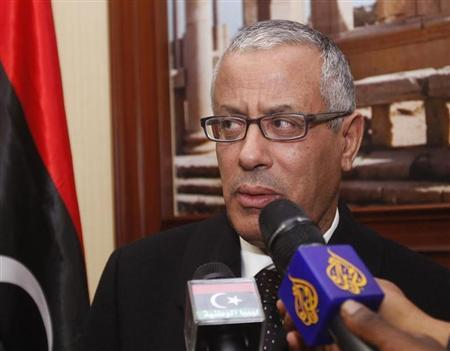 Libya's Prime Minister Ali Zeidan speaks during a news conference at the Mitiga Airport in Tripoli February 16, 2013. REUTERS/Ismail Zitouny