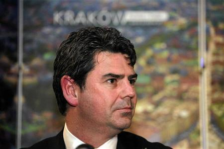 Adrian Bevington, managing director of Club England, looks on during a news conference as he announces choosing Krakow city as a base venue for the English team during the Euro 2012 Championships, in Krakow November 7, 2011. REUTERS/Jakub Ociepa/Agencja Gazeta