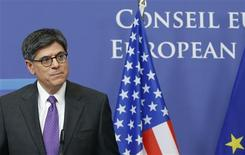 U.S. Treasury Secretary Jack Lew addresses a news conference after meeting European Council President Herman Van Rompuy (not pictured) in Brussels April 8, 2013. REUTERS/Francois Lenoir