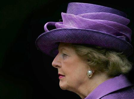 Britain's former Prime Minister Baroness Thatcher attends a service to commemorate the 25th anniversary of the liberation of the Falkland Islands from Argentine occupation by British forces, at the Falkand Islands Memorial Chapel at Pangbourne College, Berkshire, southern England in this June 14, 2007 file photo. REUTERS/Cathal McNaughton/Pool/Files