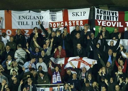 England fans are seen at the 2014 World Cup qualifying soccer match between San Marino and England at the Serravalle Stadium in San Marino, March 22, 2013. REUTERS/Eddie Keogh