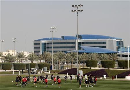 Paris Saint-Germain (PSG) players attend a training session at the Aspire Academy of Sports Excellence in Doha January 2, 2012. REUTERS/Fadi Alassaad