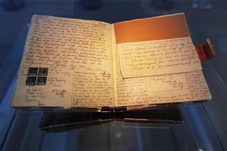 The well-known first diary of Anne Frank sits on display in the Anne Frank House in Amsterdam April 28, 2010. REUTERS/Cris Toala Olivares/Files