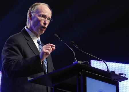 Alabama Governor Robert Bentley speaks during a news conference in Mobile, Alabama July 2, 2012. European planemaker Airbus held a news conference to announce that they will construct an assembly plant for their A320 in Mobile. REUTERS/Jonathan Bachman