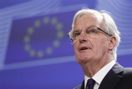 European Commissioner for Internal Market and Services Michel Barnier addresses a news conference in Brussels March 25, 2013. REUTERS/Francois Lenoir