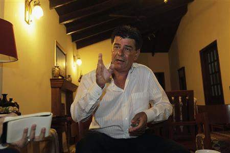 Paraguayan lawyer Efrain Alegre, candidate for presidency for the ruling Liberal Party, gestures during an interview with Reuters in Asuncion April 8, 2013. REUTERS/Jorge Adorno