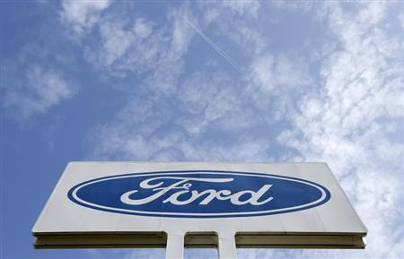 The logo of Ford Motor Co is seen at the company's assembly plant after an emergency meeting with the plant management in Genk October 24, 2012. REUTERS/Francois Lenoir