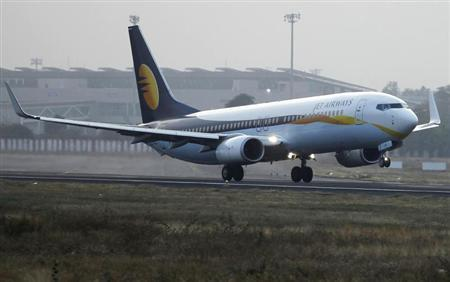 A Jet Airways passenger plane takes off from Sardar Vallabhbhai Patel International Airport in the western Indian city of Ahmedabad February 1, 2013. REUTERS/Amit Dave