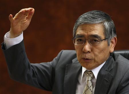Bank of Japan Governor Haruhiko Kuroda speaks during a group interview at the BOJ headquarters in Tokyo April 10, 2013. REUTERS/Toru Hanai