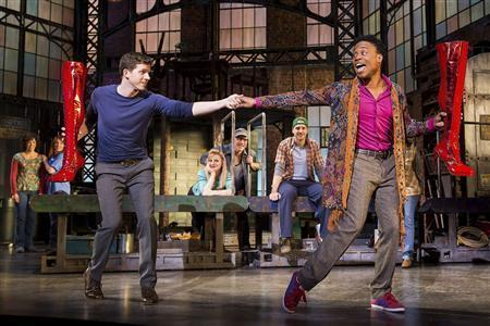 Actors Stark Sands (L) and Billy Porter are shown in this undated publicity photograph from the Broadway production of the ''Kinky Boots'' which opens on Broadway April 5, 2013. REUTERS/Matthew Murphy Copyright/Handout