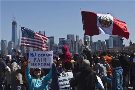 People take part in a rally to demand that Congress fix the broken immigration system at Liberty State Park in Jersey City, New Jersey, April 6, 2013. REUTERS/Eduardo Munoz
