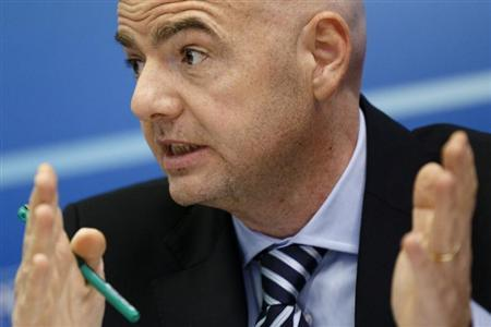 UEFA General Secretary Gianni Infantino attends a news conference after the first UEFA Executive Committee reunion of the year at the UEFA headquarters in Nyon January 25, 2013. REUTERS/Valentin Flauraud