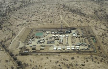 An aerial view photographed through an aircraft window shows the Twiga-1 drill site in the Turkana region, in northern Kenya, February 13, 2013. REUTERS/Kelly Gilblom